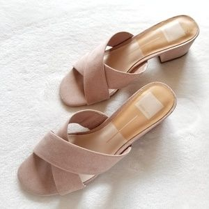 Dolce Vita Nude Blush Cross Strap Block Heels 8.5